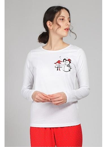 Hays Kadın Penye Pijama Üstü Beyaz